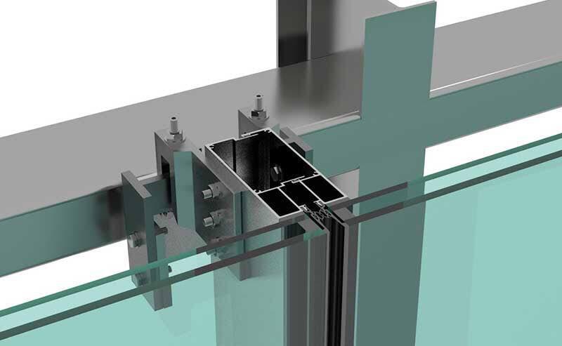 نمای شیشه ای ، نمای کرتین وال ، نمای اسپایدر